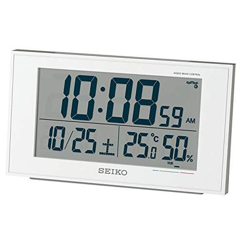 세이코 clock 자명종 전파 디지탈 캘린더 쾌적당 온도 습도 표시백 펄 가격표 없음 BC402W SEIKO