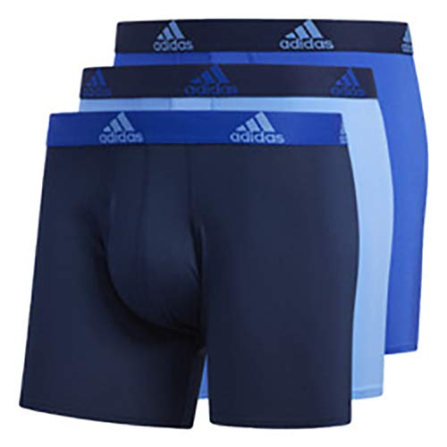 adidas Climalite Boxer Briefs Underwear (3-pack), Real Blue/Collegiate Navy | Bold Blue/Collegiate Navy | Collegiate Navy/Bold Blue, Large by adidas