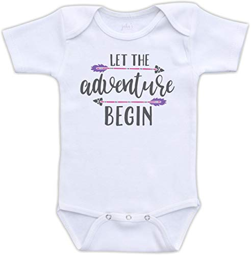 - Jaka's Closet Let The Adventure Begin -Tribal Birth Reveal Pregnancy Announcement (12M Short Sleeve Bodysuit, Pink & Purple)