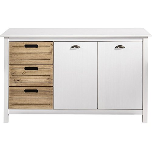 Manhattan Comfort CS87208 Irving Modern Rustic Buffet Sideboard Cabinet White/Natural
