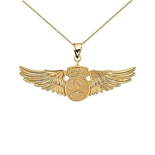 14k Yellow Gold Royal Saudi Arabia Air Force Wings Insignia Pendant Necklace, 20