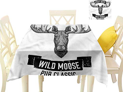 Davishouse Washable Table Cloth Craft Beer with Wild Moose Indoor Outdoor Camping Picnic W60 x L60 (Best Craft Beer Bars In Chicago)