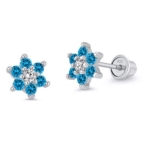 925 Sterling Silver Rhodium Plated Flower Sky Blue Cubic Zirconia Screwback Baby Girls Earrings