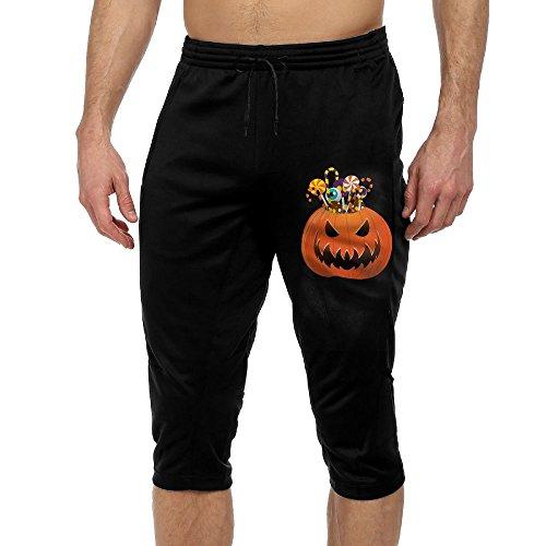 Halloween Pumpkin Capris Drawstring Eco Crop Pant Running Workout Leggings Pants Gym Athletic Sport Trousers Black (Park Ultra Lounge Halloween)