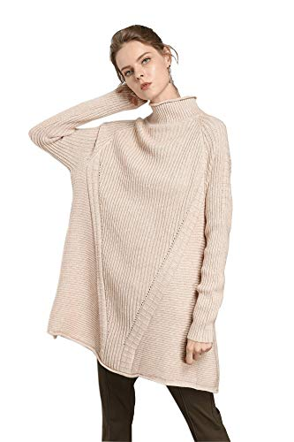 (RanRui Women's Tunic Sweater Cashmere Pullover Mock Neck Knit Loose Sweater Jumper(One Size, 8018 Beige) )