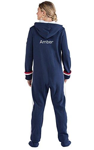 PajamaGram Women's Personalized Team USA Hooded Onesie Pajamas, Blue, Med (8-10)