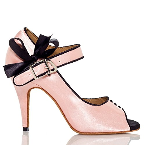 Minishion Mujeres Th004 Lovely Knot Satin Wedding Ballroom Latin Taogo Dance Sandalias Rosa