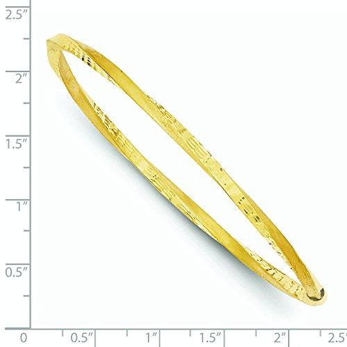 Finition satinée 14 carats 3 mm-Taille-Twist JewelryWeb Bracelet diamant