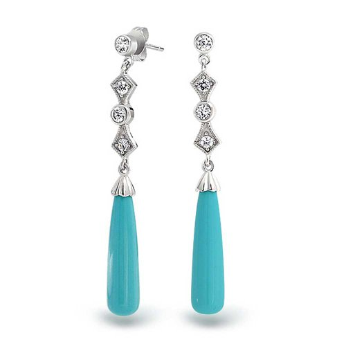 - Long Linear Cubic Zirconia CZ Blue Stabilized Turquoise Tear Drop Earrings For Women 925 Sterling Silver
