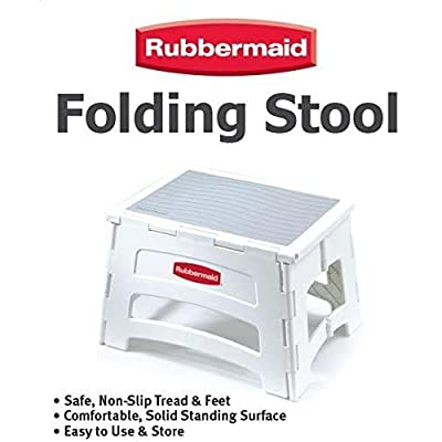 Rubbermaid RM-PL1W Folding 1-Step Plastic Stool, 300-pound Capacity, White