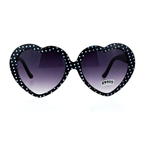 Womens Black Polka Dot Print Color Plastic Heart Shape Cutie Sunglasses ()