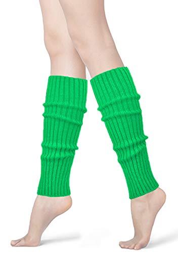 Womens 80s Neon Ribbed Knit Crochet Dance Yoga Leg Warmers Long Socks (Grass Green(1 -