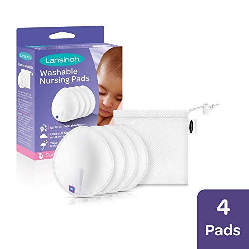 Lansinoh Reusable Washable Nursing Pads with Superior Absorbency & Comfort, Pack of 4 Pads & Wash Bag