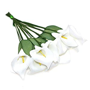 HZOnline Artificial Mini Calla Lily Flower Heads, Fake Floral Bouquet Head for Crafts Scrapbooking Garden Wedding DIY Making Bridal Garland Hair Clips Headbands Decoration (144pcs White) 25