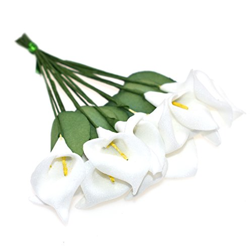HZOnline Artificial Mini Calla Lily Flower Heads, Fake Floral Bouquet Head for Crafts Scrapbooking Garden Wedding DIY Making Bridal Garland Hair Clips Headbands Decoration (144pcs White)