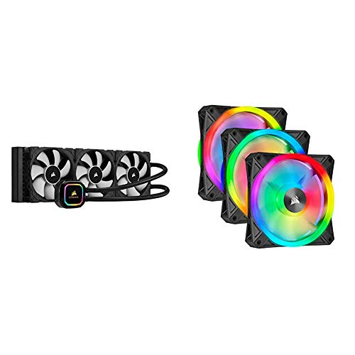 Corsair iCUE H150i RGB Pro XT, 360mm Radiator, Triple 120mm PWM Fans, Advanced RGB Lighting and Fan Control with Software, Liquid CPU Cooler & QL Series, Ql120 RGB, 120mm RGB LED Fan