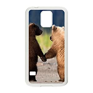 Customized Cover Case with Hard Shell Protection for SamSung Galaxy S5 I9600 case with Cute Bear lxa#445228