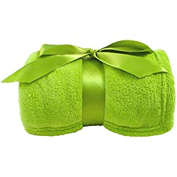 Simplicity Soft Plush Fuzzy Solid Colored Throw Blanket, Lime