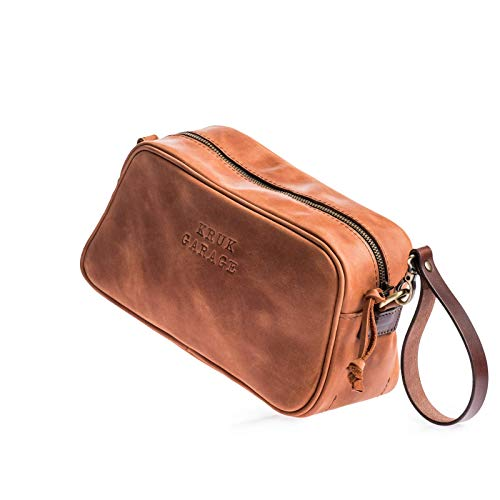 Leather Dopp kit Toiletries and amenities kit Leather pouch Toiletry bag Men's pouch Shaving bag Birthday bag Christmas gift Men's gift