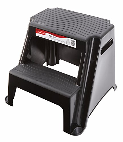 Rubbermaid RM-P2 2-Step Molded Plastic Stool with Non-Slip Step Treads, 300-Pound Capacity, Black Finish (Renewed)