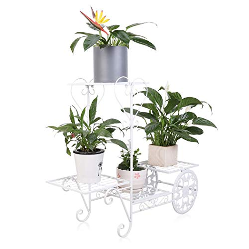 Garden Metal Plant Shelf Rack 4 Tier Cart Style Flower Pots Holder with Storage Shelves Holds up to 77lbs, White ()