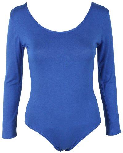 Camiseta de manga larga para body de maillot de elástico una pieza para mujer cuello redondo Top azul real