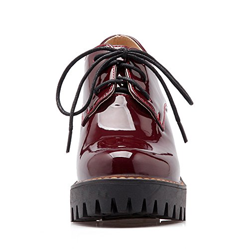Red Heel Shoes Lucksender Womens Up Wine High Oxford Lace Block zFXxz0