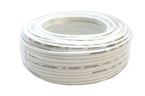Speaker Wire 14 GA White Stranded Copper Clad 50 Feet Home A