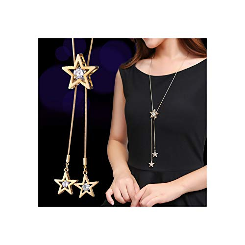 MIXIA Charm Triple Crystal Star Long Sweater Chain Necklace Fine Jewelry Crystals Women Red Pearl Cross Tassel Necklace (Star Gold)
