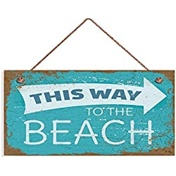 "TOPFINES This Way to The Beach Sign, Weathered Beach Decor, Rusted Style Sign, 5"" x 10"" Sign, Wall Plaque, Beach House, Wood Plank Design Hanging Sign (10"" x 5"", 29)"