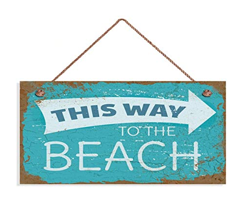 TOPFINES This Way to The Beach Sign, Weathered Beach Decor, Rusted Style Sign, 5