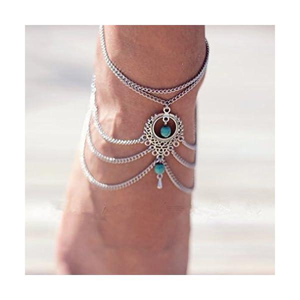 WeiMay 1 X Elegante cavigliera a più strati caviglie in nappa catena donne braccialetto alla caviglia sandalo a piedi… 3 spesavip