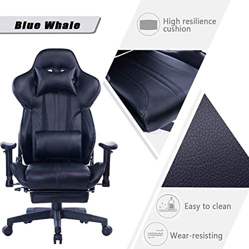 Blue Whale Gaming Chair with Adjustable Massage Lumbar Pillow,Retractable Footrest and Headrest -Racing Ergonomic High-Back PU Leather Office Computer Executive Desk Chair (GM039Black-2) 41PqpizmZaL