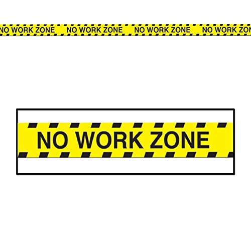No Work Zone Party Tape - Club Pack of 12 Yellow and Black
