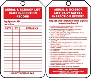 Accuform TRS206PTP Safety Tags Status Alert AERIAL & SCISSOR LIFT DAILY INSPECTION RECORD RP-Plastic 25 PK