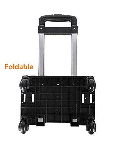 Backpack Trolley with 360 Rolling Wheels,Wheeled Hand Truck for School Bags - Children Kids Back to School by UEK,Luggage Cart Travel Trolley with Buckles Straps Folding (4 Wheels-Black)