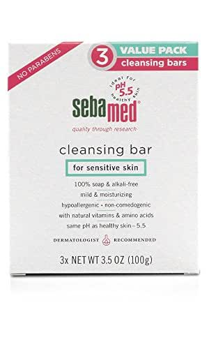 Sebamed Sensitive Skin Cleansing Bar 3 Pack (10.5 ounce) - Hypoallergenic and Dermatologist Recommended.  No Detergents that may Irritate Skin Conditions