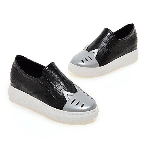 AllhqFashion Damen Rund Zehe Mittler Absatz Gemischte Farbe Ziehen auf Pumps Schuhe Silber