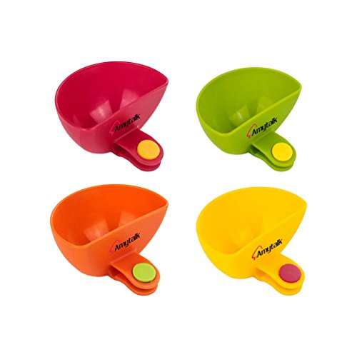 Dip Clips(Set of 4) Amytalk Colorful Plate Grab Clip-on Dip Holders Tomato Sauce Salt Vinegar Sugar Flavor Spices Dip Bowl Party Ware