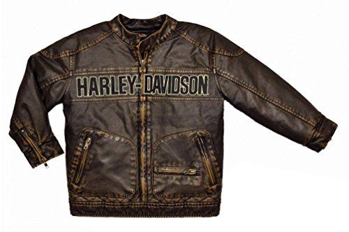 Harley-Davidson Little Boys' Embroidered Laundered P.U. Moto Jacket 3376084 (3T) (Motorcycles Harley Davidson Boys)
