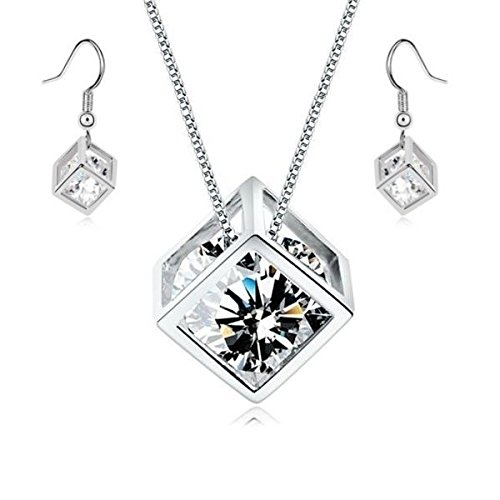 White Zirconia Austrian Crystals Cube Set Pendant Necklace 18 Dangle Earrings 18 ct White Gold Plated Crystalline CA-AZ-CR-0202
