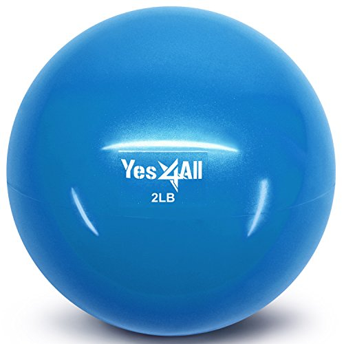 Yes4All Soft Weighted Toning Ball / Soft Medicine Sand Ball – Great for Exercise, Workout, Physical Therapy – Soft Weighted Ball (2 lbs, Blue)