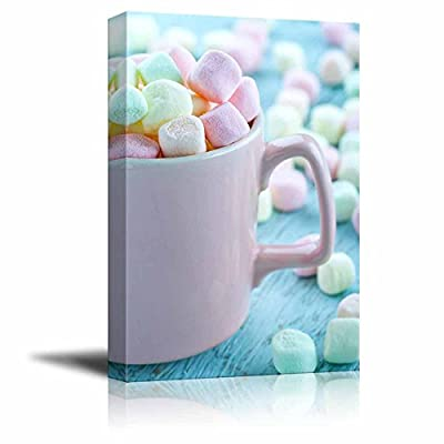 Alluring Artisanship, Original Creation, Pastel Color Marshmallows in a Pink Cup on Light Blue Wooden Background