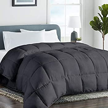 COHOME King 2100 Series Cooling Comforter Down Alternative Quilted Duvet Insert with Corner Tabs All-Season - Plush Microfiber Fill - Reversible - Machine Washable - Dark Grey