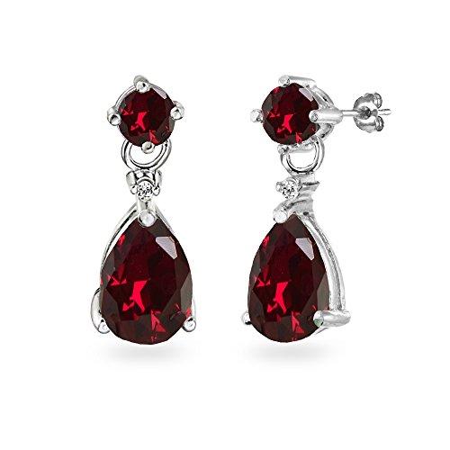 Sterling Silver Created Ruby Teardrop Dangle Earrings ()