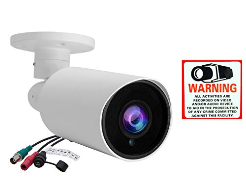 Evertech Full HD 1080P 2.1MP Bullet Outdoor Security Camera with IR LED Night Vision Indoor Outdoor Waterproof Manual Zoom 4 in 1 AHD TVI CVI and Traditional Analog DVRs w Free CCTV Warning Sign