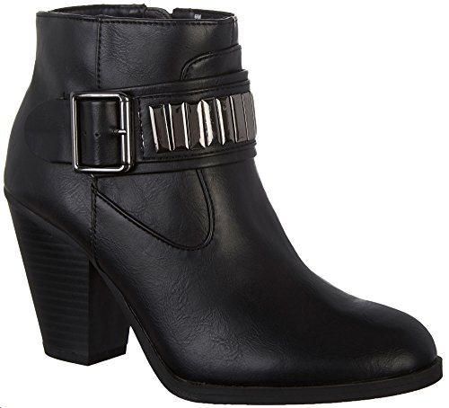 Rampage Women's Velma Block Heel Ankle Boot Bootie with Oranaments Wraparounds and Buckles 7.5 Black (Buckle Wrap Around)
