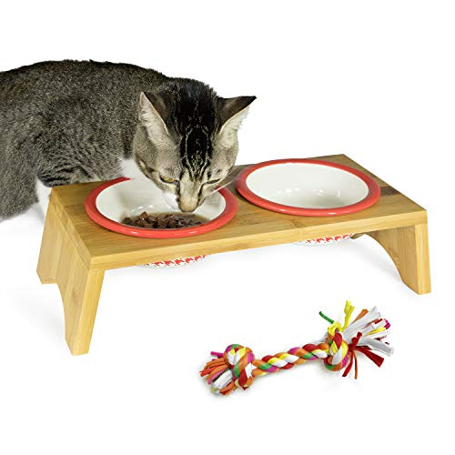 YUNJING Bamboo Frame Pet Ceramic Double Bowl & Cat and Dog Toy Braided Rope (Red)