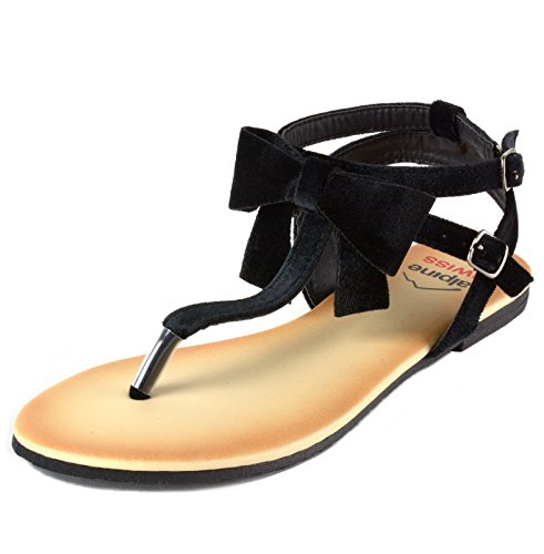 alpine swiss Women's Velvet Bow Sandals T-Strap Gladiator Slingback Flats Blk 11 M US (Sandals 11 Black Thong)