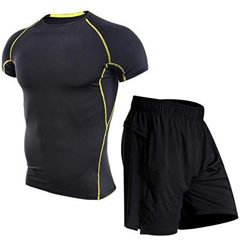 Tops Pant Suit Mens Fitness Bodybuilding Skin Tight-Drying Short Sleeves Shirt ()